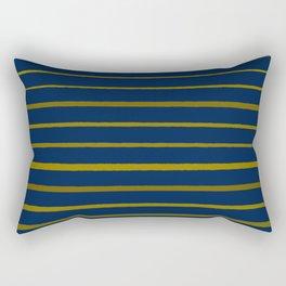 Slate Blue and Honey Gold Stripes Rectangular Pillow