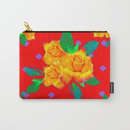 Red & Violet Gold Roses Violet Pattern Carry-All Pouch