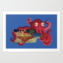World in bottle: Atalantis (Octopus - monster) Art Print