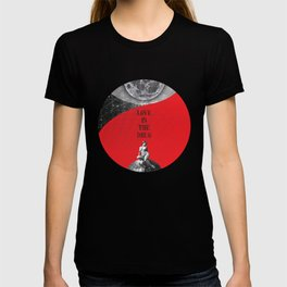 Full Moon Love Quote Retro Vintage Nude Woman Love is the drug Rock Music Song Lyrics T-shirt