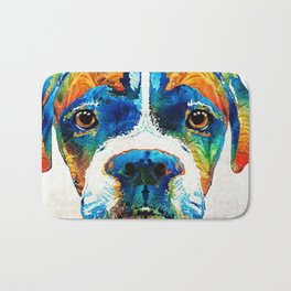 Colorful Boxer Dog Art By Sharon Cummings Bath Mat