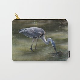 Great Blue Heron Catching Huge Frog - I Carry-All Pouch