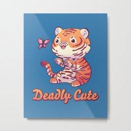 Deadly Cute Tiger // Kawaii, Big Cat, Animals Metal Print
