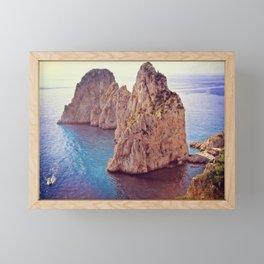 Capri Island. Faraglioni rocks Framed Mini Art Print