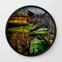 dinosaurs Wall Clocks featuring DINOSAURS by shannon's art space