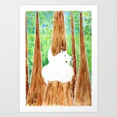 Polar Bear On Holiday Art Print
