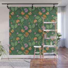 Spring Flowers and Butterflies Wall Mural