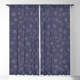 Indigo blue Small palms pattern Blackout Curtain