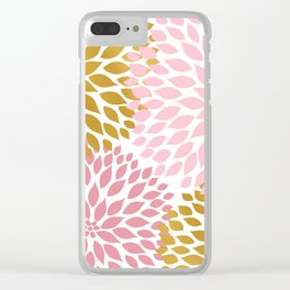 Pink Gold Dahlia Floral Clear iPhone Case