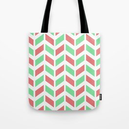 Peachy pink, green and white chevron pattern Tote Bag