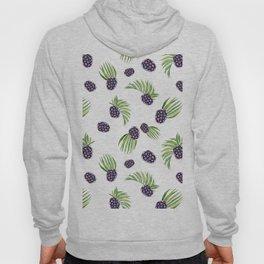 Hand painted black green watercolor fruity blackberries Hoody