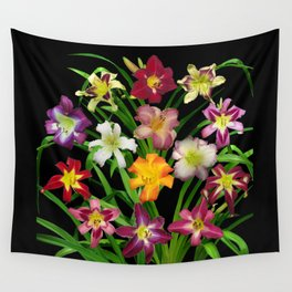 Display of daylilies II on blck Wall Tapestry
