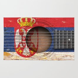 Old Vintage Acoustic Guitar with Serbian Flag Rug