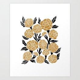 Golden Flowers - floral, yellow, golden yellow, ochre, linocut, woodcut, woodblock Art Print
