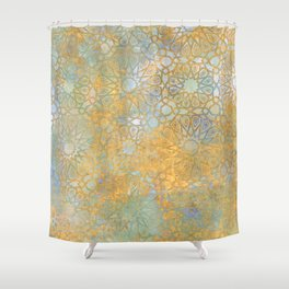 gold arabesque vintage geometric pattern Shower Curtain