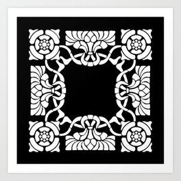 Art Nouveau Black and White Art Print