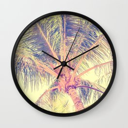 Palm tree, light sky Wall Clock