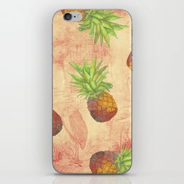 Retro Vintage Pineapple with Grunge Animals Background on #Society6 iPhone Skin