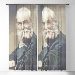 Walt Whitman Leaves of Grass Poetic Portrait still life painting Sheer Curtain