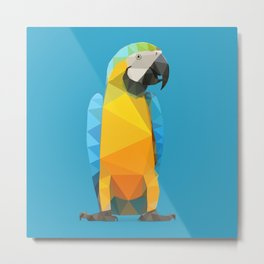Low Poly Blue and Gold Macaw Metal Print
