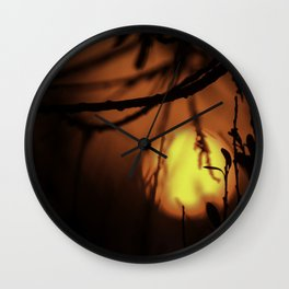 EGG YOLK SUNSET IN  THE BUSHES. Wall Clock