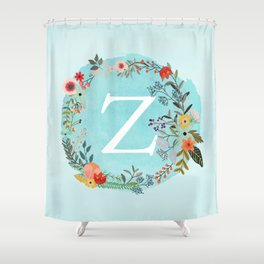 Personalized Monogram Initial Letter Z Blue Watercolor Flower Wreath Artwork Shower Curtain