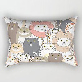 Cute Tigers And Cats Pattern Rectangular Pillow