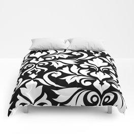 Flourish Damask Art I White on Black Comforters
