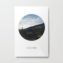Iceland Landscape | Graphic Design | Picture in Circle Metal Print
