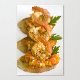 Shrimp Bruschetta Canvas Print