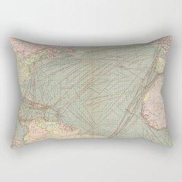 Vintage Atlantic Ocean Navagational Map (1905) Rectangular Pillow