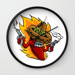 Mexican red chili pepper with guns. Wall Clock