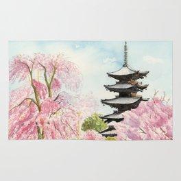 Japanese Temple Watercolor Painting print by Suisai Genki , To-ji, Kyoto , Sakura , Cherry blossom Rug