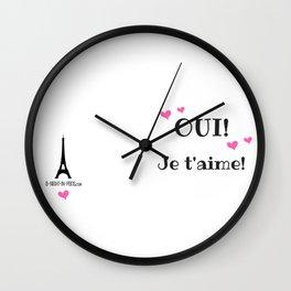 Oui je t'aime (Yes I love you) Wall Clock