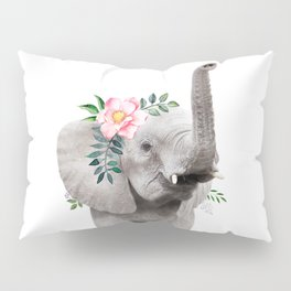 Baby Elephant with Flower Crown Pillow Sham