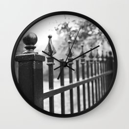 Wrought Iron Fence - Black and White Wall Clock