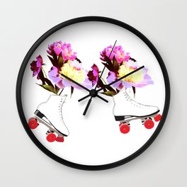 Peony Flowers on Roller skates Wall Clock