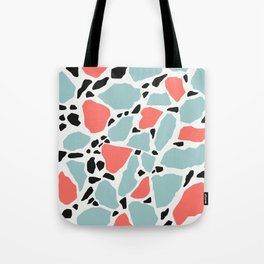 Living Coral and Light Blue Terrazzo Tote Bag