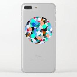 Aqua Rainbow Paint Drops Clear iPhone Case