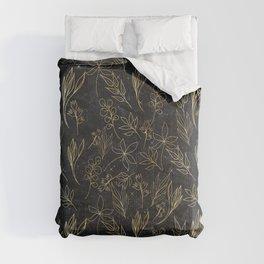 Modern line Art Gold & Black Hand Drawn Leaves Comforters