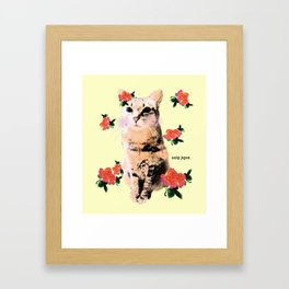 cat and rose Framed Art Print