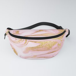 Swirl Pink Marble Pattern With Gold Glitter Veins Fanny Pack