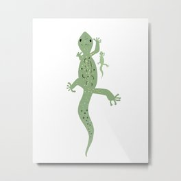 Gecko Mama and Baby Metal Print