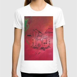 Music, Drummer, Drums, Orignal Artwork By Jodi Tomer. Rock and Roll Drums T-shirt