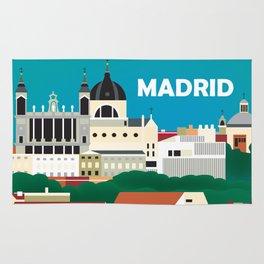 Madrid, Spain - Skyline Illustration by Loose Petals Rug