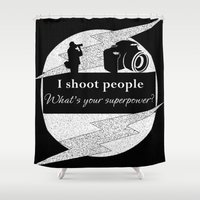 aperture Shower Curtains featuring I Shoot People by LLL Creations