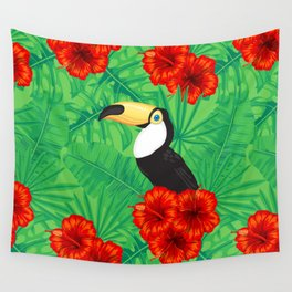 Tropical pattern with toucan and  tropical leaves Wall Tapestry