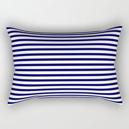 Navy Blue & White Maritime Small Stripes- Mix & Match with Simplicity of Life Rectangular Pillow