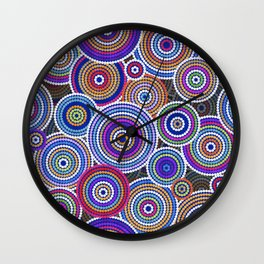 Colorfull Aboriginal Dot Art Pattern Wall Clock