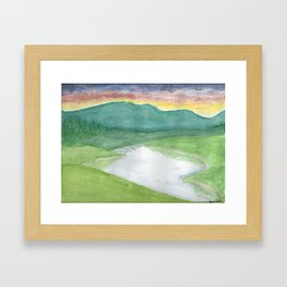 Many Hills, Wow Green Framed Art Print